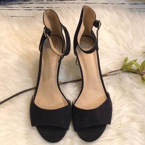 H&M faux suede black ankle sandals